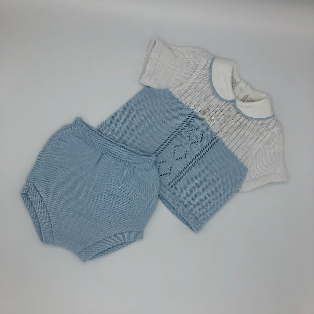 Baby Boy's Pale Blue & White Top & Pants 3-6 months