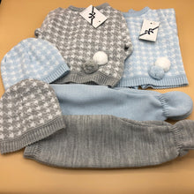 Load image into Gallery viewer, Baby Boy's Newborn Portuguese Knitted 3 Piece Outfit Pale Blue or Grey with Bobbles