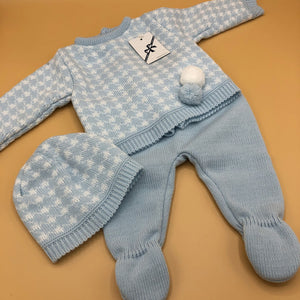 Baby Boy's Newborn Portuguese Knitted 3 Piece Outfit Pale Blue or Grey with Bobbles