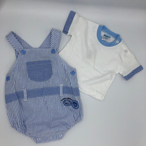 Baby Boy's 2 Piece Romper Suit Blue & White - 9819