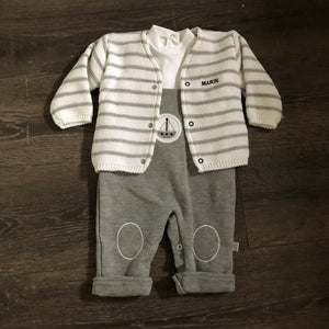 Baby Boys 3 Piece Portuguese Outfit in Grey & White