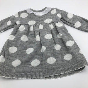 Baby Girl's Knitted Portuguese Dress & Bolero Cardigan Grey & White