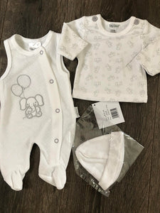 Tiny Newborn  & Premature Baby 3 Piece Outfit White & Grey Unisex