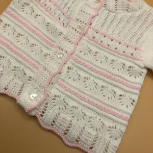 Baby Girl's Round Neck Cardigan White & Pink New Arrival -2202