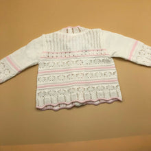 Load image into Gallery viewer, Baby Girl's Round Neck Cardigan White & Pink New Arrival -2202