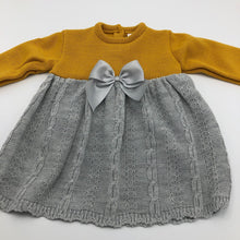 Load image into Gallery viewer, Portuguese Knitted Baby Dress with Bolero in Grey & Mustard Gold New Arrival