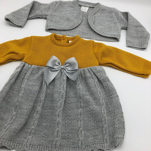 Portuguese Knitted Baby Dress with Bolero in Grey & Mustard Gold New Arrival