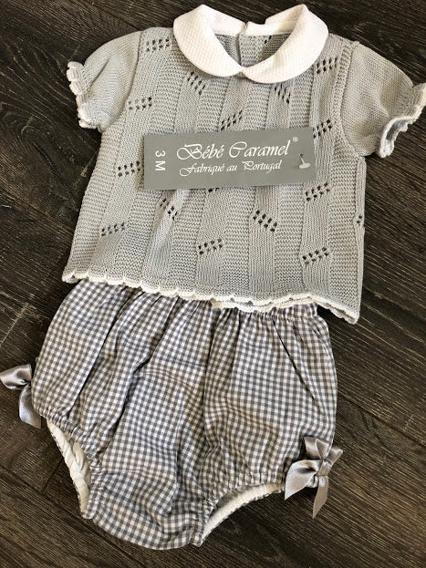 Boys Girls Unisex Spanish Style Portuguese Grey & White 2 Piece Outfit 4571