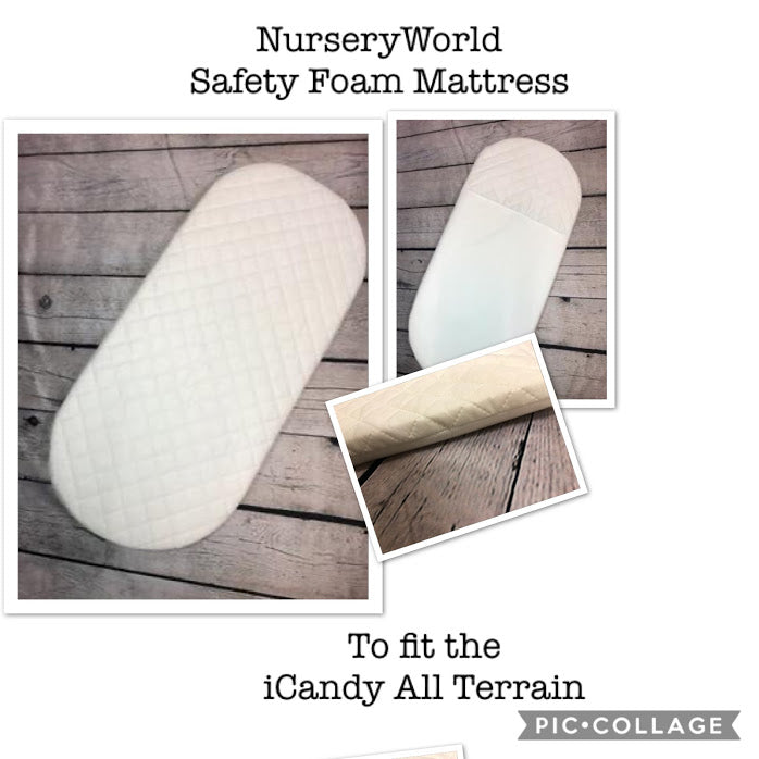 Replacement Safety Foam Pram Mattress Fits I Candy All Terrain Carrycot Pram