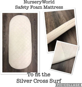 Replacement Safety Foam Pram Mattress Fits Silver Cross Surf Carrycot Pram FREE UK POSTAGE