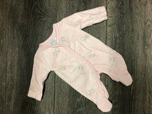 Load image into Gallery viewer, Smaller Baby Newborn pink sleep suit with giraffe applique