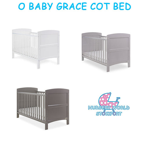 O Baby Grace Cot Bed - Taupe Grey, Warm Grey or White