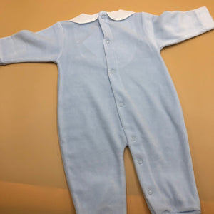 Baby Boy's Pale Blue Sleepsuit with White Trim newborn - 4904