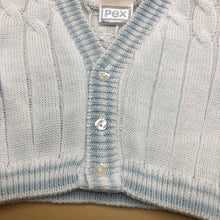 Load image into Gallery viewer, Baby Boy's Knitted Cotton Cable Cardigan White Pale Blue - 7171