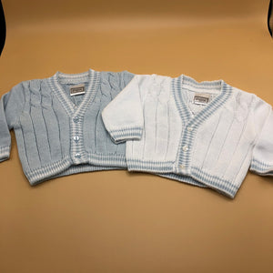 Baby Boy's Knitted Cotton Cable Cardigan White Pale Blue - 7171