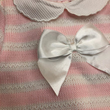 Load image into Gallery viewer, Knitted Baby Girl's 2 Piece Outfit with Large White Satin Bow Pink or Grey - 5234-1414