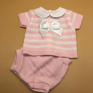 Knitted Baby Girl's 2 Piece Outfit with Large White Satin Bow Pink or Grey - 5234-1414