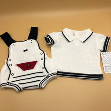 Load image into Gallery viewer, Baby Boy's sailor Suit 2 Piece White Cotton Knitted - 0497