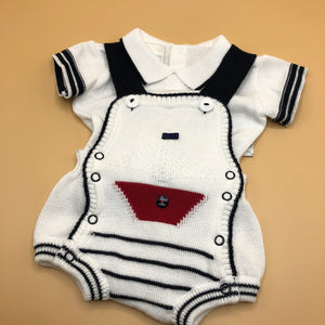 Baby Boy's sailor Suit 2 Piece White Cotton Knitted - 0497