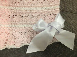 Baby Girl's Lacy Knit 2 Piece Outfit Pink & White