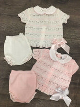 Load image into Gallery viewer, Baby Girl's Lacy Knit 2 Piece Outfit Pink & White