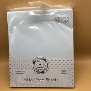 Pram Cotton Interlock Fitted Sheets Fits Up To 40 x 80 cms