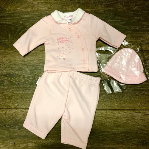 Tiny Baby or Premature Baby Girl's 3 Piece Outfit Pink