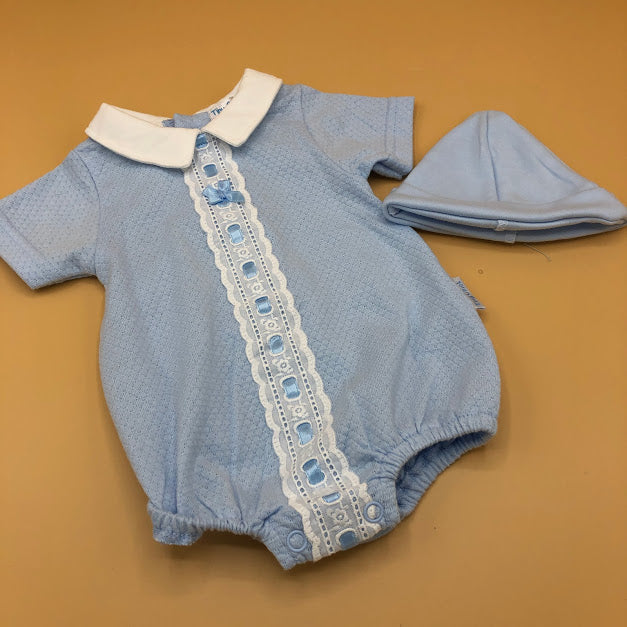 Baby Boy's or Girl's Premature Baby Tiny Baby Outfit-Blue & White - 9141
