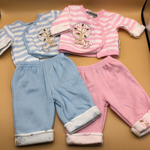 Premature Baby or Tiny Baby Outfit Pink & White or Blue & White 2831/3153