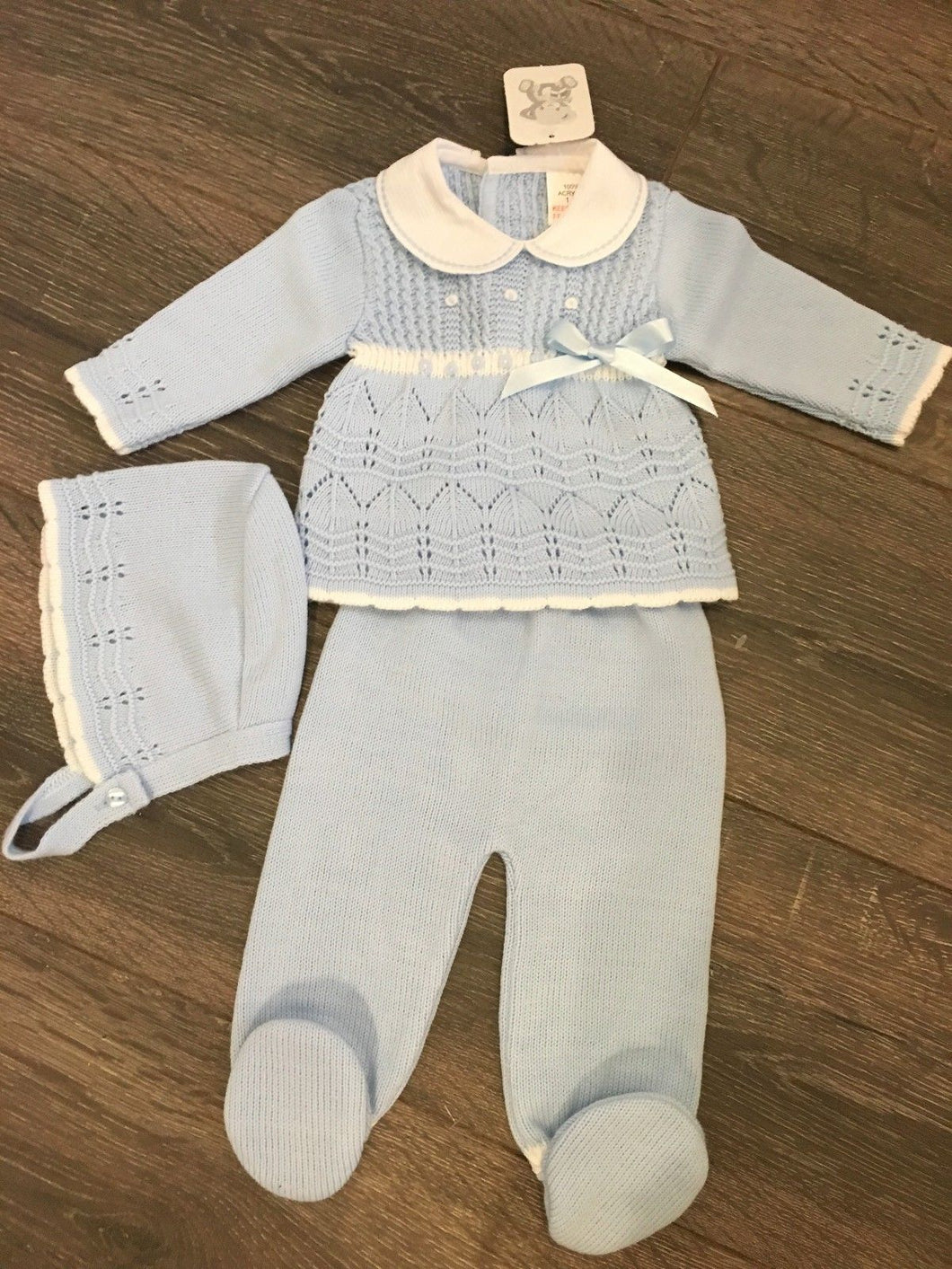 Baby Girls Spanish Style Outfit with Bonnet Pale Blue