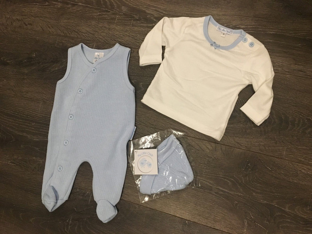 Baby Boys 3 Piece Outfit Pale Blue & White