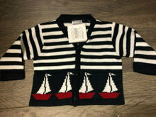 Load image into Gallery viewer, Baby Boy's Cardigan Navy & White Stripy Striped Red Trim