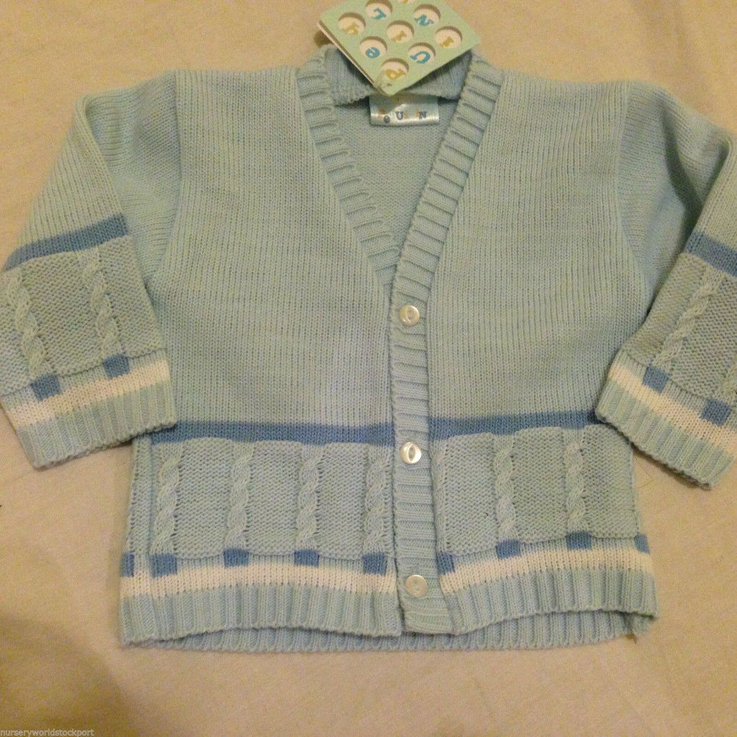 Baby Boy's Cardigan Pale Blue 'V'Neck