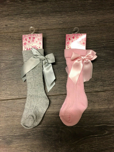 Pink or Grey Baby Knee Socks with Satin Bow