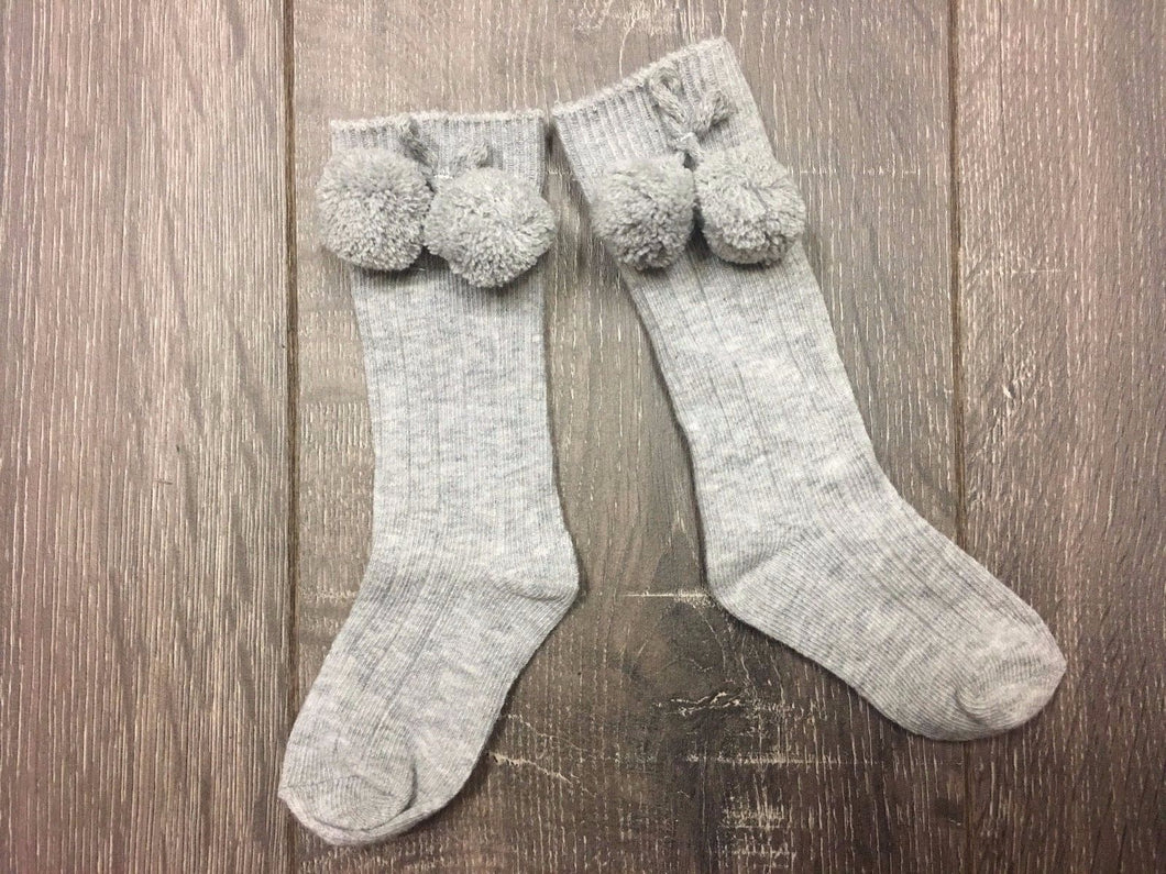 Grey Baby Knee Long Socks with Bobbles