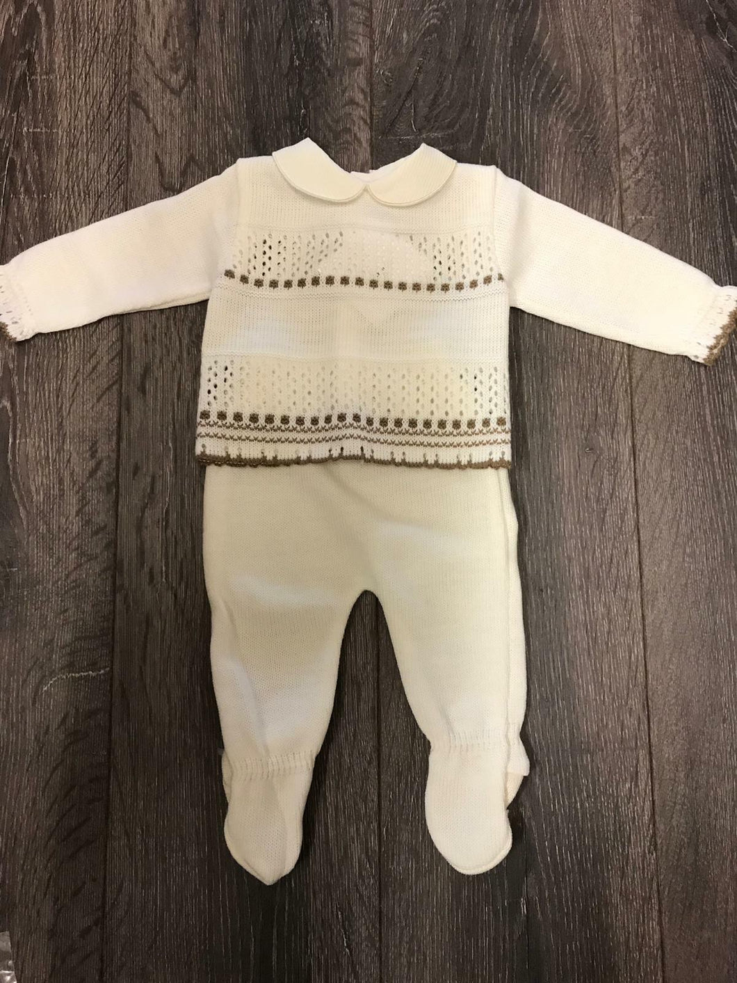 Baby Boy's or Girl's Spanish Cream Ivory 2 Piece Outfit