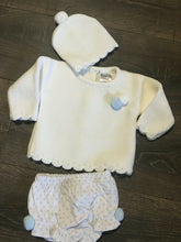 Load image into Gallery viewer, Baby Girl's or Boy's 3 Piece Knitted Outfit-White & Pale Blue