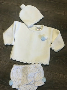 Baby Girl's or Boy's 3 Piece Knitted Outfit-White & Pale Blue