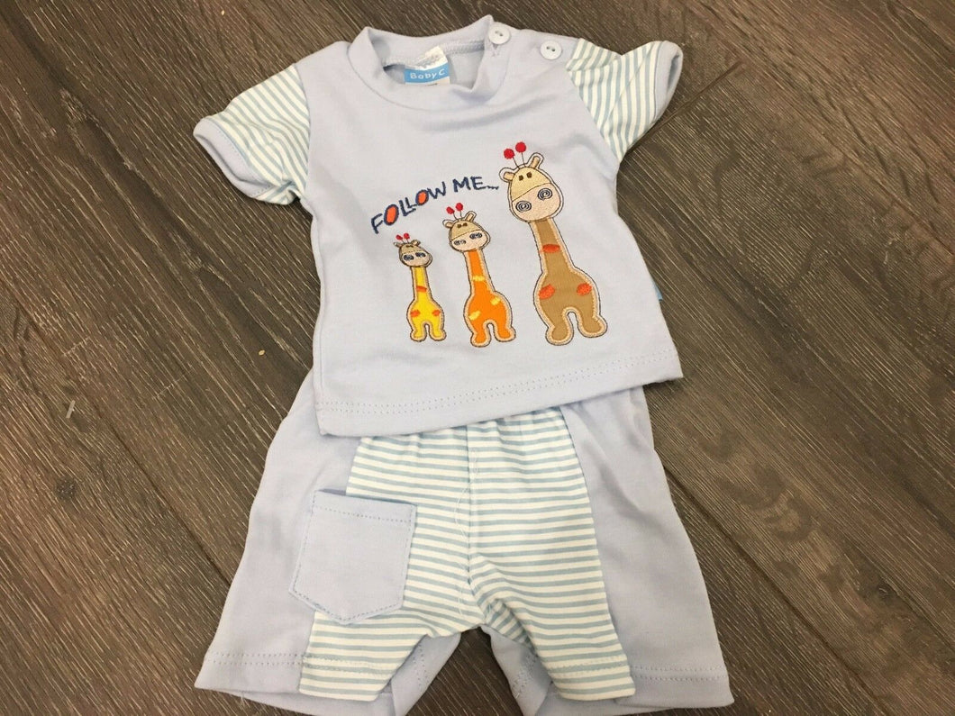 Tiny Baby Newborn or Premature Baby Boy's Summer 2 Piece