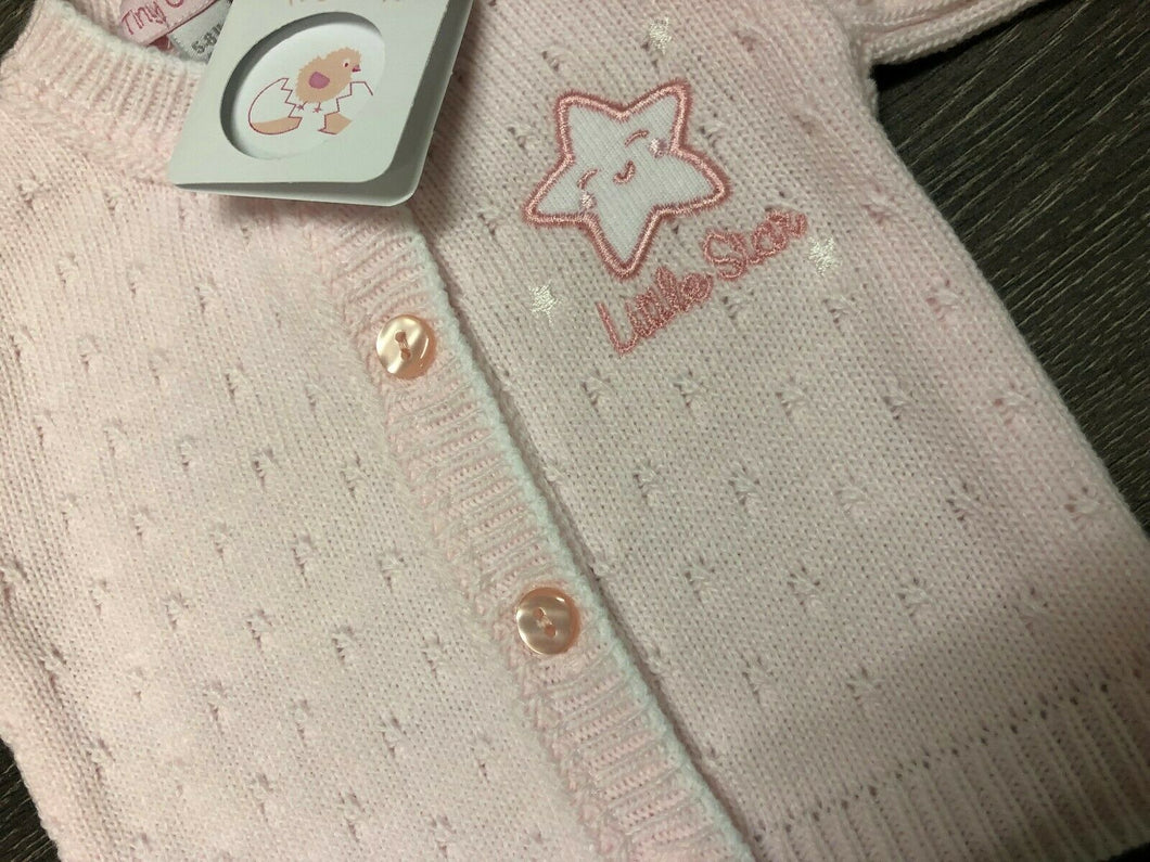 Tiny Baby or Premature baby cardigan in Pink with Star