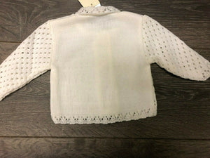 Tiny Baby and Premature baby Girl's Lacy cardigan in White
