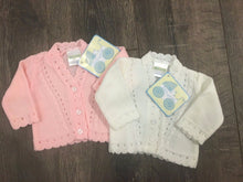Load image into Gallery viewer, Tiny Baby or Premature Baby Cardigans Pink or White 3-5LBS 5-8 LBS