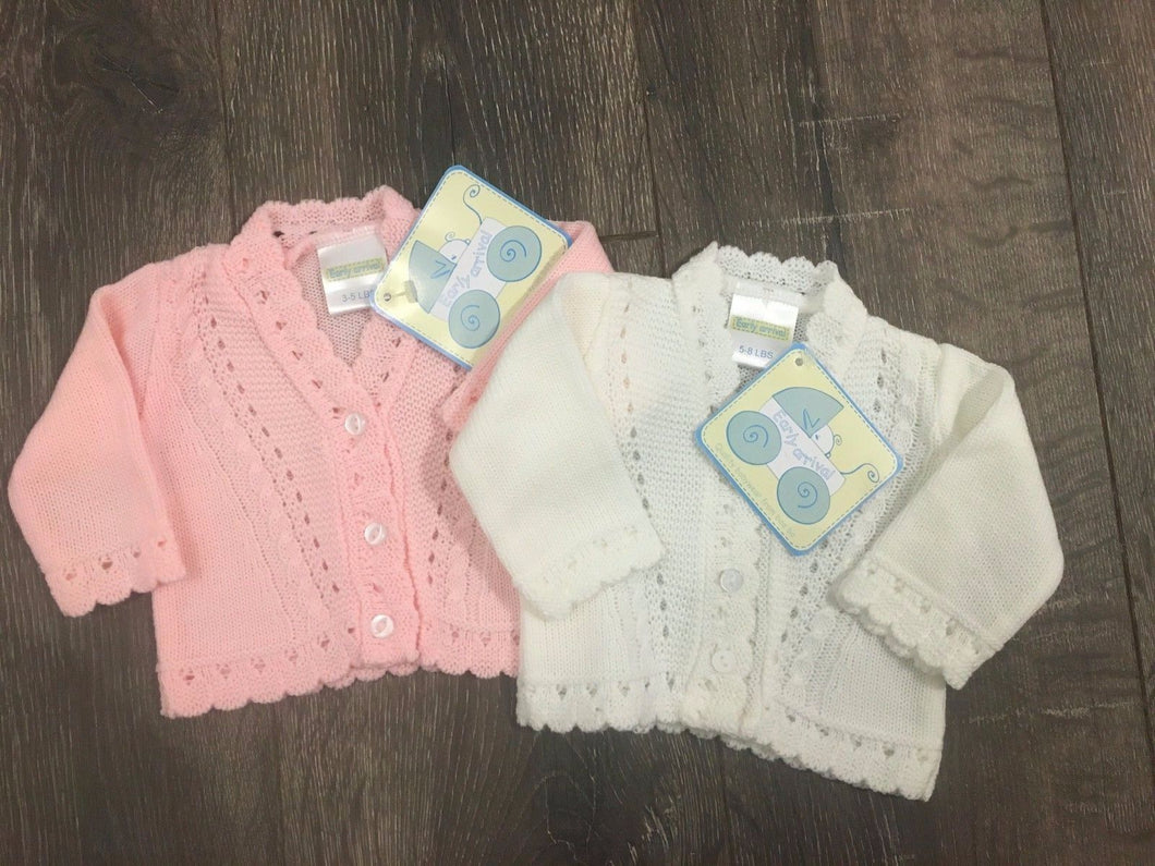 Tiny Baby or Premature Baby Cardigans Pink or White 3-5LBS 5-8 LBS