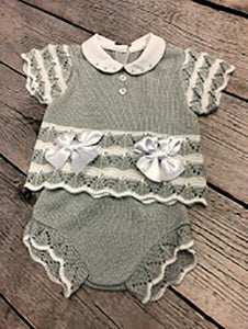 Baby Girl's or Boy's Spanish Style Portuguese 2 Piece Outfit Grey & White