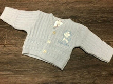 Load image into Gallery viewer, Tiny Baby or Premature Baby Boy's Cardigan in Pale Blue Giraffe Motif