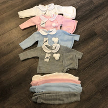 Load image into Gallery viewer, Baby Boy's Girl's White Pale Blue Pink Grey Newborn Spanish Knitted 3 Piece Outfit