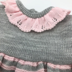 Baby Girl's Knitted Portuguese Dress & Bolero Cardigan Pink & Grey New Arrival