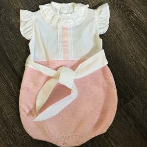Baby Girl's Pink & White Romper 100% Cotton