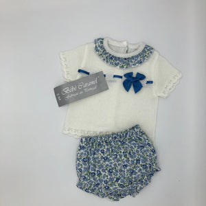 Baby Girl's 2 Piece Knitted Spanish Style Outfit Blue or Pink