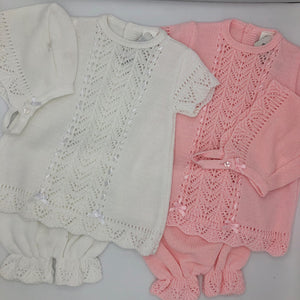 Baby Girl's Knitted Spanish Style Dress, Bonnet and Knickerbockers Pink or White -7501